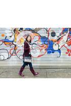 black rain coat Via Spiga jacket - magenta rain boots Target boots