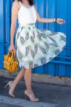 white JYJZ skirt - gold 31 Phillip Lim purse - nude Jessica Simpson pumps