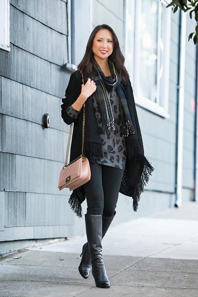 black fringe PinkBlush sweater - black Jimmy Choo boots