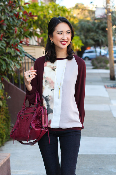 maroon Zara sweatshirt - black pumps Prabal Gurung shoes