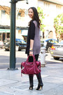 Black-jimmy-choo-boots-black-tart-leggings-magenta-balenciaga-bag