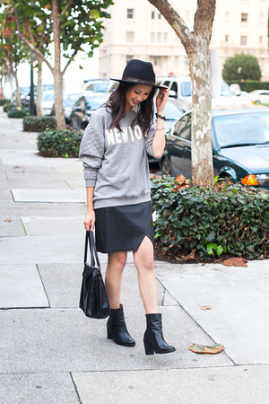 black leather Zigi Zoho boots - black wool Club Monaco hat - white H&M shirt