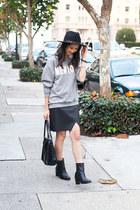 black leather Zigi Zoho boots - black wool Club Monaco hat - white H&M shirt