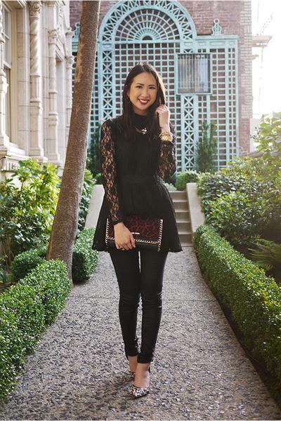 black lace JYJZ top - ruby red leopard print Michael Kors purse