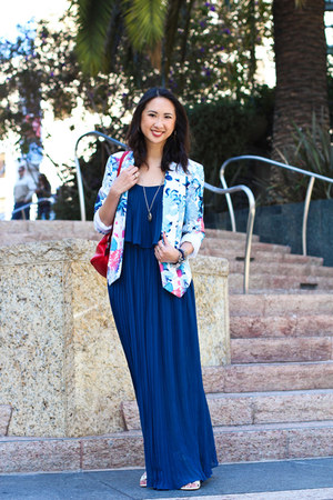 blue maxi dress Forever 21 dress - light blue floral Target blazer