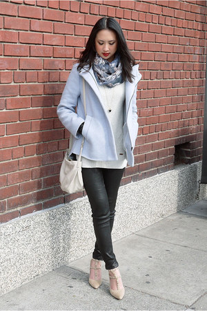 black leather J Brand pants - light blue wool Zara coat - off white TOMS sweater