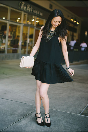 black studded banana republic shoes - black pleated Myne dress