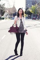 white Zara jacket - black sam edelman boots - magenta balenciaga bag