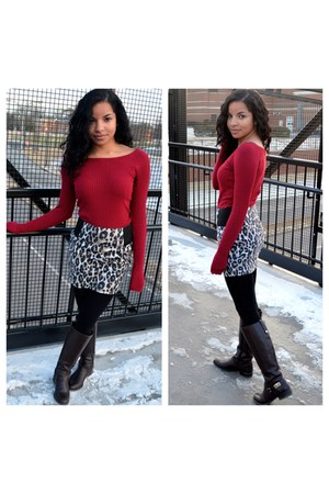black Charlotte Russe tights - dark brown Tommy Hilfiger boots