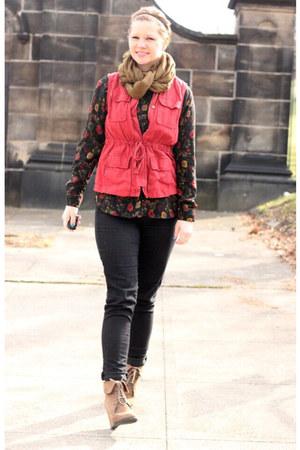 black Gap pants - olive green Target scarf - red thrifted vest