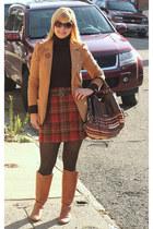 burnt orange The Limited thrifted skirt - camel Steve Madden boots