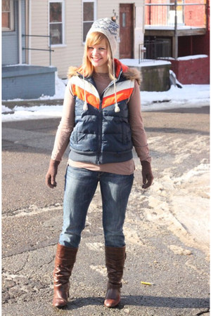 navy Delias vest - brown Madden Girl boots - blue Express jeans