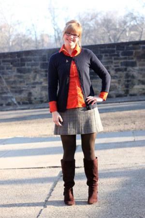 dark brown Target boots - carrot orange H&M shirt