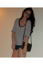gold pearl earrings - dark brown purse - navy H&M shorts - navy stiped top