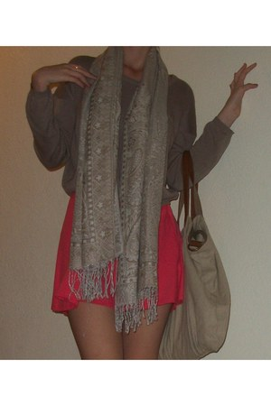 tan sweater - beige scarf - tan Stradivarius bag - pink skirt