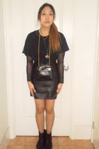 black cotton on shirt - black American Apparel blouse - black markets accessorie