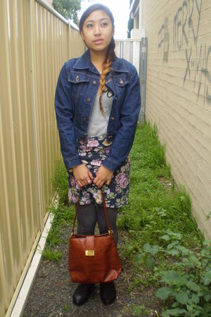 blue Levis jacket - silver Dangerfield top - purple skirt - gray tights - brown