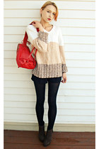 red Eco Trend bag - triblend Denim & Co sweater - lace up Rampage shorts