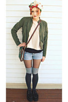 creepers Demonia shoes - army green Clio jacket - beige H&M sweater