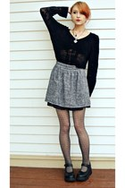 necklace - lia sophia necklace - heather gray Forever 21 skirt