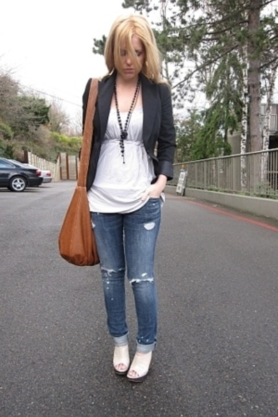 blazer - top - Current Elliott jeans - forever 21 necklace - Aldo shoes - purse