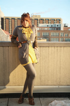 gray Target tights - brown Marshalls blouse - yellow twelve by twelve dress - gr