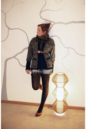 brown Target tights - blue vintage shorts - black Express shirt - brown vintage