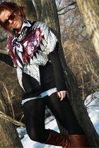 silver vintage top - brown Target boots - purple vintage scarf - blue target sho