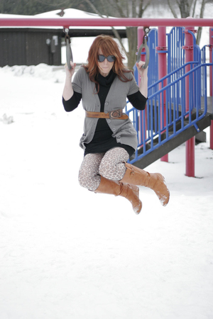 brown Betsy Johnson tights - orange Charlotte Russe boots - black H&M dress - br