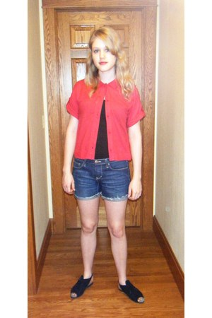 red Urban Outfitters shirt - blue BDG shorts - black H&M top - black ecote flats