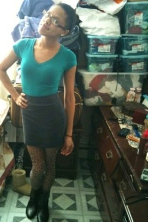 black Forever 21 boots - gray Forever 21 skirt - brown Forever 21 stockings - bl