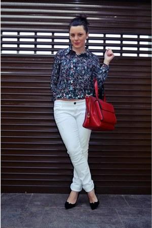 ruby red Parfois bag - black Magrit heels - black Sheinside blouse