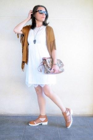 white Kiabi dress - brown Mulaya cardigan