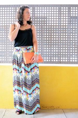 sky blue BLANCO skirt - orange Primark bag