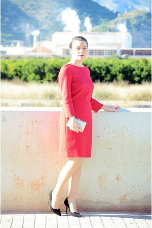 red Mango dress - black Festa coat - gold BLANCO bag - black Magrit heels