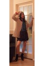Beige-burberry-cardigan-teal-topshop-blouse-dark-brown-pussycat-london-skirt