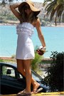 White-sugarfree-dress-bershka-hat-prada-sunglasses