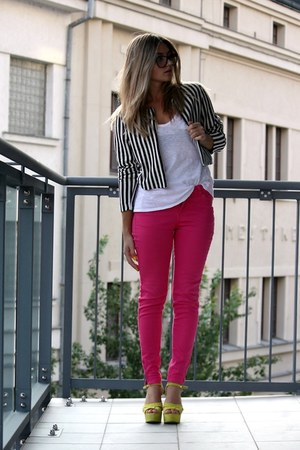 H&M blazer - hot pink Zara pants - yellow Zara heels