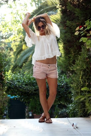 light pink Zara shorts - Prada sunglasses - white H&M blouse