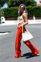 Louis Vuitton bag - Prada sunglasses - camel Zara top - red Zara pants