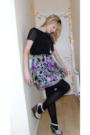 purple Oliver Bonas dress - beige Topshop shoes