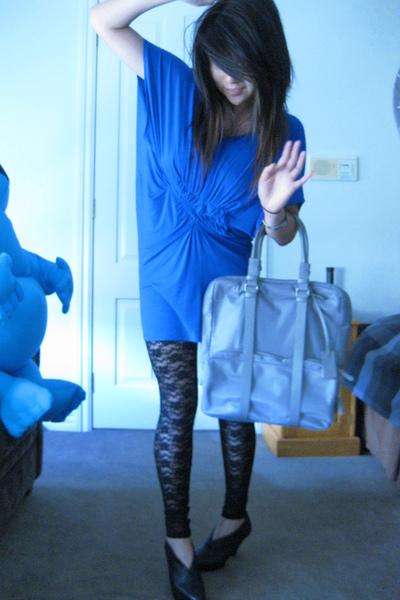 black calvin klein boots - black Tokito leggings - gray calvin klein purse - blu