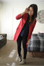 Blue-armani-exchange-cardigan-red-coat-black-leggings-gray-nine-west-boots