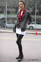 red cocobonny shirt - black ankle boots cocobonny boots
