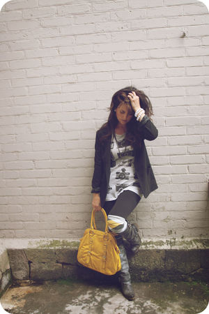black blazer - gray modcloth shirt - gold Over the knee socks - black Steve Madd