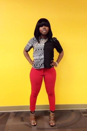 black top - red Charlotte Russe pants - black pumps