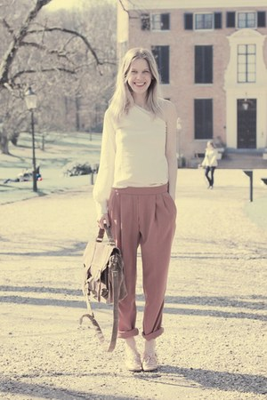 brown Ebay bag - tan Zara shoes - nude Zara pants - ivory Lycid Acyd blouse