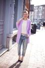 Light-purple-choies-coat-blue-levis-jeans-ivory-topshop-sweater