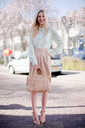 light pink H&M skirt - nude Rebecca Minkoff bag - pink asos socks