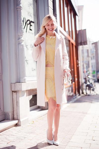light pink Zara coat - light pink Choies bag - light yellow Choies top